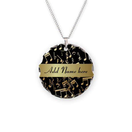 Gold and Black personalized musical notes Necklace